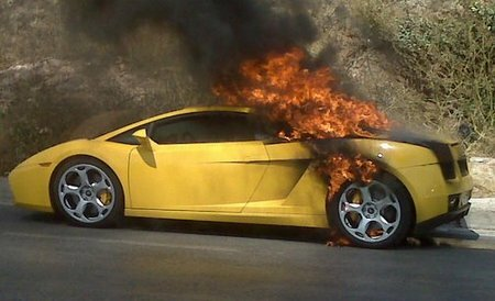 Lamborghini Gallardo on Fire